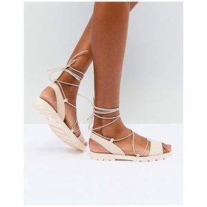ASOS • flutter tie leg jelly sandals